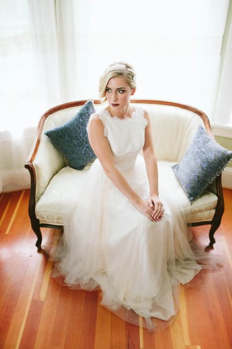 Ally lace tulle Wedding Dress Gown with flowy chiffon and eyelet lace overlay. Etsy Seller: Ting Bridal