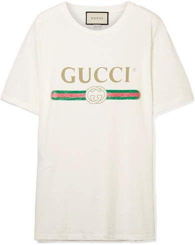 abe50623 Gucci - Appliquéd Distressed Printed Cotton-jersey T-shirt - Cream ...