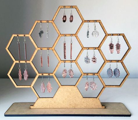 3d Laser, Laser Cut Wood, Laser Cutting, Laser Art, Wood Laser Ideas, Laser Cut Fabric, Jewelry Stand, Jewelry Holder, Jewelry Booth