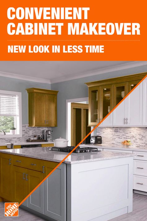 With installation in as little as 3-5 days, a Cabinet Makeover from The Home Depot makes it easy to get back to enjoying your kitchen. Our experts will help you choose from a variety of cabinet styles and finishes to get a new look in less time. Plus, smaller installation crews means less foot traffic in your home. Click to learn more and set up a free, virtual consultation for a Cabinet Makeover. For licenses, visit homedepot.com/licensenumbers.