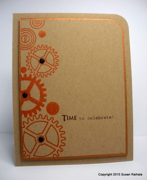 handmade card from Simplicity ... kraft with one layer tone on tone ... only top right corners rounded ... reddish copper metallic ink looks great on kraft ... luv the metallic copper pen inking aourn the edges of the panel ... side edge stamped with gears  ... off-the-edge and graduating in sizes ... like it!