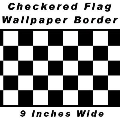 Red Edge Checkered Flag Cars Nascar Wallpaper Border-9 Inch