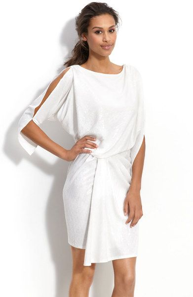 23d397696631 Cold Shoulder Sequin Dress - Lyst | White Party Attire Examples for ...