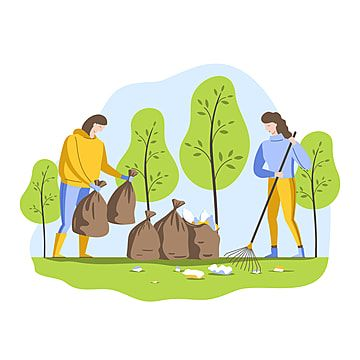 Volunteers Clean Up Garbage In The Forest Young People Collect Garbage In Bags Cleaning Clipart Volunteer Clean Png And Vector With Transparent Background Fo Nature Vector Volunteer Human Vector