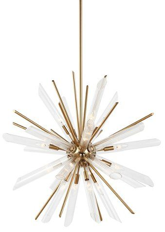 Quorra 16 Light Chandelier Brass Clear With Images Chandelier Lighting Chandelier Brass Chandelier