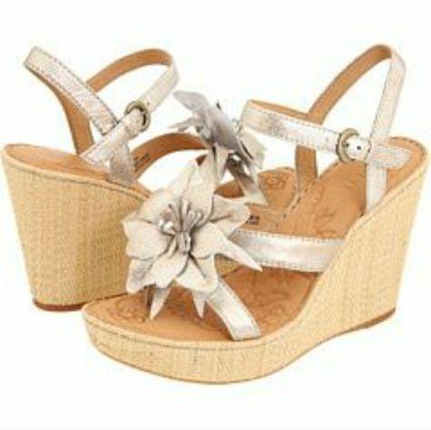 Born Wedge Miss Flower Platform Sandal 10 | Color: White | Size: 10