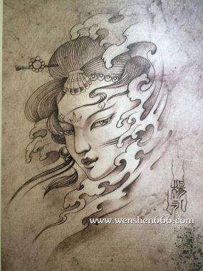 古代少女头像纹身手稿 Koi Desenhos Sombreados E Tatuagem
