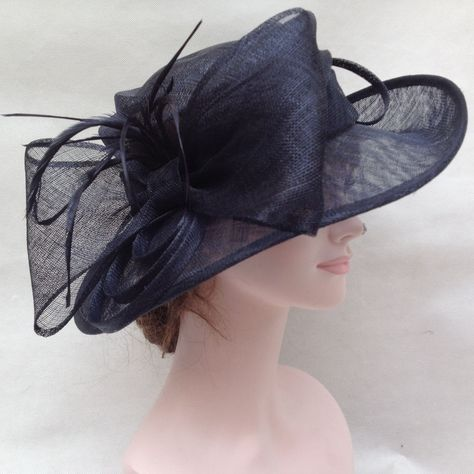 5cf9a27c6fb Church Kentucky Derby Carriage Tea Party Wedding Wide Brim Sinamay Hat Navy  Blue  65 too dark