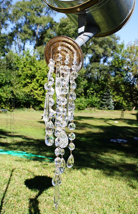 A Watering Can That Pours Crystals hanging out in the back yard off of a beautiful tree. (such a dreamer)