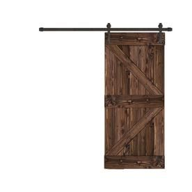 Creative Entryways Sliding Espresso Stained K Frame Wood Pine Barn Door With Hardware Common 32 In X 80 In Barn Door Barn Door Hardware Interior Barn Doors