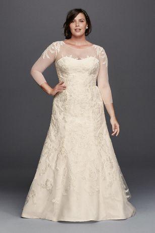 Oleg Cassini Plus Size Organza 3/4 Wedding Dress Style 8CWG731 ...