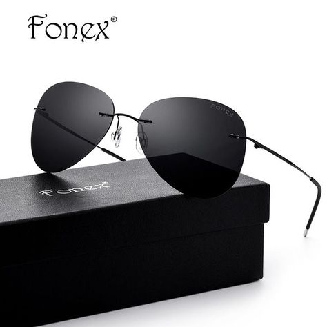 642eae6585 FONEX Brand Men s Polarized Sunglasses Rimless Aviation Driving Titanium  Alloy Sunlgass Sports Womens Sun Glasses for Men 20008  24.48  Polarized ...
