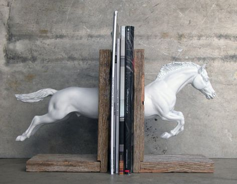 Etsy Boutique of the Week: Equine by Lauren Radvansky with charming handmade horse-themed bookends and wall racks with reclaimed wood