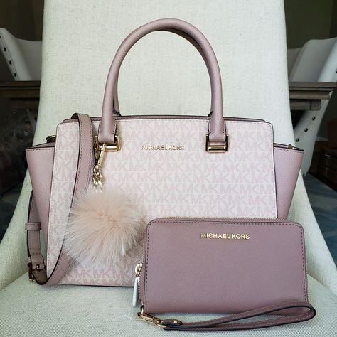 Michael Kors Bag + Wallet + Pom Bundle on Mercari Trendy Purses, Cute Purses, Michael Kors Satchel, Handbags Michael Kors, Pink Michael Kors Bag, Mk Handbags, Purses And Handbags, Designer Handbags, Mk Purse
