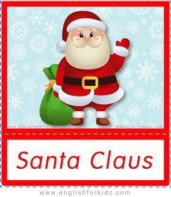 Santa Claus Free Printable Christmas Flashcards For Esl Free Christmas Printables Christmas Worksheets Printable Flash Cards