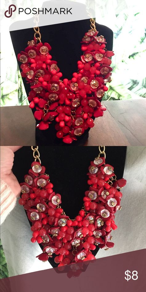 6e3a85f11f3389 Two tone red statement necklace 2-toned red & gold-toned hardware statement  necklace w/adjustable clasp, this would make a great way to add color to  holiday ...
