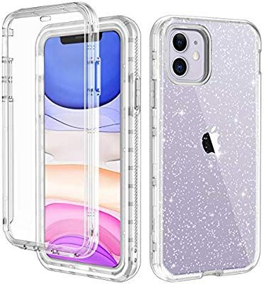 Amazon Com Lontect For Iphone 11 Case Built In Screen Protector Glitter Clear Sparkly Bling Rugge Iphone Case Covers Phone Cases Protective Pretty Phone Cases