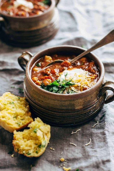 Spicy Posole with Cheesy Jalapeño Cornbread Muffins - One of my favorites for meal prep lunching. Posole plus some cornbread? YUM. #dinner #soup #recipe #souprecipe #easydinner #yum | pinchofyum.com
