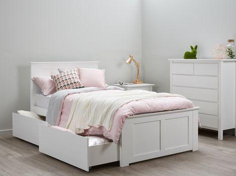 Bella White King Single Storage Bed Hardwood Frame Single Beds