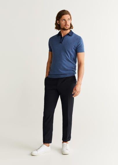 MANGO MAN Male Polo shirt indigo blue mango man Indigo