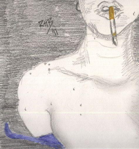 """""""Ella fumaba en su cumpleaños"""". Grafitos y acuarela sobre papel/Graphite and watercolor on paper."""