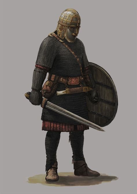 """Preliminary concept art for Mount & Blade: Bannerlord. Saxon Elite Mercenary / Infantry (Later became Vlandia / Almondia) """"A king by his own hand on a throne of misery and blood. Viking Armor, Medieval Armor, Viking Age, Medieval Fantasy, Vikings, Ancient Egyptian Art, Ancient History, Ancient Aliens, Ancient Greece"""