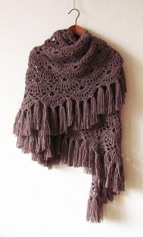 Crochet Alpaca Shawl - Warm Winter Shawl - Oversized Crochet Shawl - Handmade Fringe Wrap - Made To
