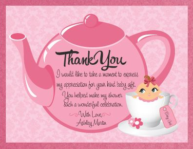 we have a lovely custom thank you card that matches our adorable, Baby shower