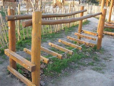 Would prefer the wood on the ropes to be closer together and round instead of square when we make a play area