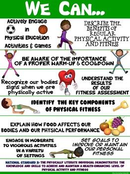 """PE Poster: """"We Can"""" Statements- Standard 3: Achieving a Hi"""
