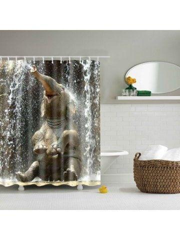 3d Elephant Pattern Bathroom Waterproof Shower Curtain Elephant