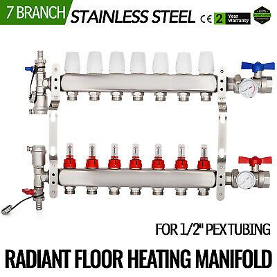 7 Branch 1 2 Pex Radiant Floor Heating Manifold Set Premium Resistant Vertical In 2020 Radiant Floor Heating Radiant Floor Flooring