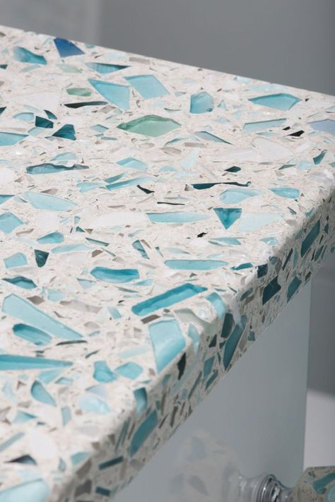 Designers and architects, order a free sample of crushed glass countertops in Sea Pearl finish from Vetrazzo the original recycled glass surface. Beach Cottage Style, Coastal Cottage, Beach House Decor, Coastal Style, Coastal Decor, Beach Condo, Coastal Living, Cottage Art, Coastal Bedrooms