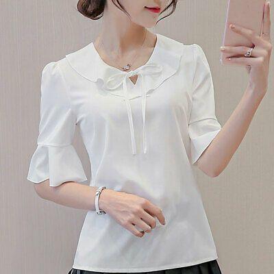 Shirt Top Women Ladies Chiffon Short Sleeve Loose T-Shirt Fashion Summer Blouse