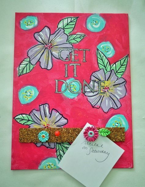 DIY Memo Board with Cool2Cast Flower Push Pins by Laura Bray