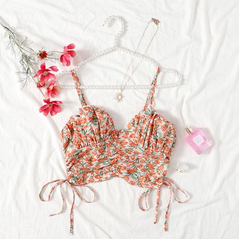 Allover Floral Ruched Cami Top