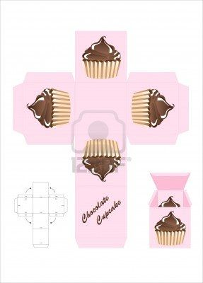 A template for a cupcake gift box. EPS10 vector format. Stock Photo