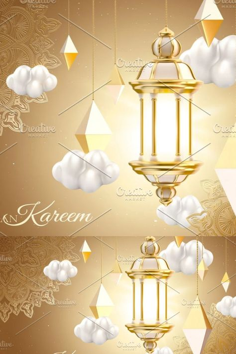 3d Islamic lantern background