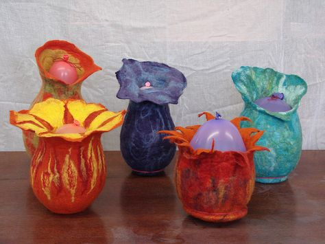 Felt vessels made in a class taught by Kirsty Wallace-Diva