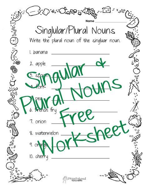 Squarehead Teachers: Singular/Plural Nouns Worksheet (FREE printable!) Great for lower grades and ESL students.