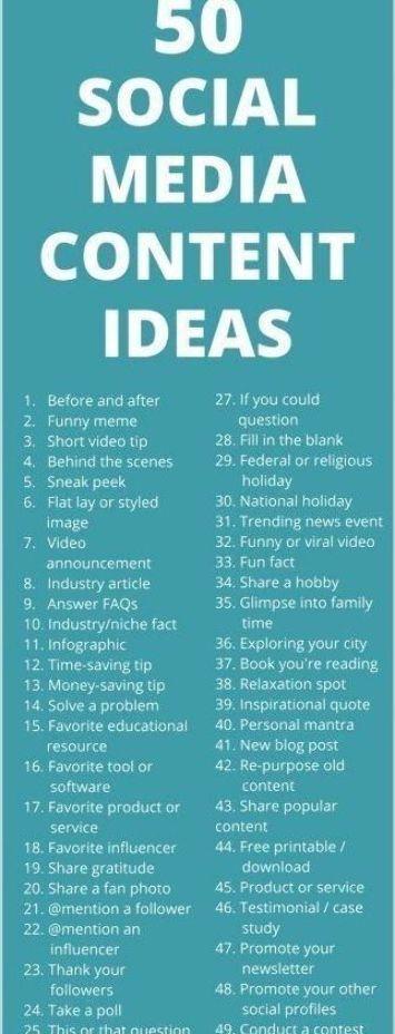 50 Social Meadis Content Ideas Social Media Content Ideas List Social Media Calendar Social Media Planning Social Media Trends