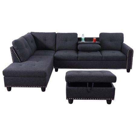 Home L Shaped Sofa Designs Sectional Sofa With Chaise Drop Down Table