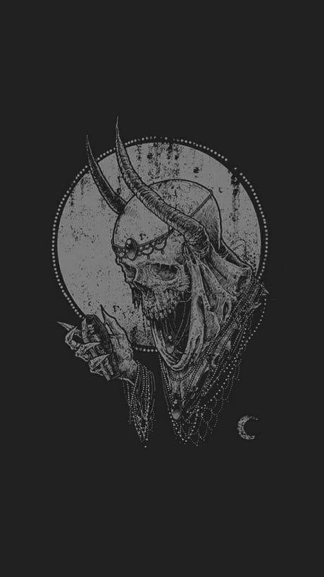 Skull Wallpaper Skull Wallpaper Scary Art Satanic Art Black iphone evil wallpaper