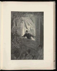 """High-rez scan of Poe's """"Raven,"""" illustrated by Dore"""