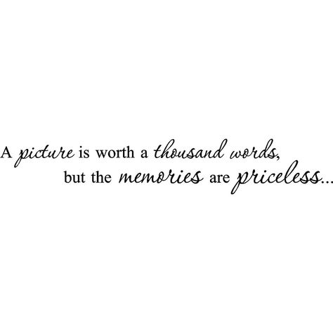 'A picture is worth a thousand words but the memories are priceless' Vinyl Wall Art Lettering (Black Lettering)