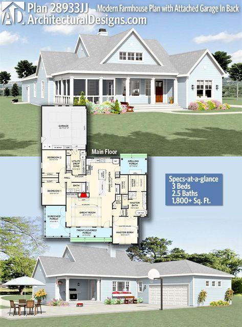 Plan 28933jj Modern Farmhouse Plan With Attached Garage In Back Modern Farmhouse Plans Farmhouse Plans Small Farmhouse Plans
