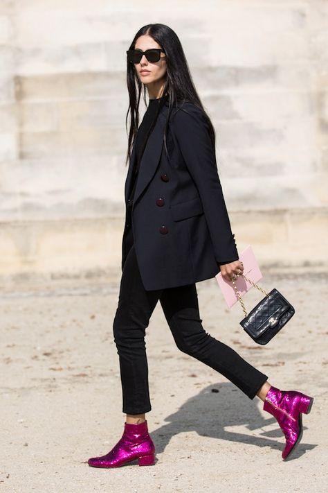 Saint Laurent, street style, Paris Fashion Week, Gilda Ambrosio, Sandra Semburg / Garance Doré those saint laurent boots tho !