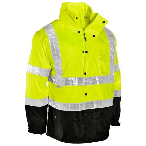 f5e741ac Hi Viz 3/4 Length Parka Two Tone Reflective Tape Waterproof Quilted Work  Jacket Coat High Vis Safety Workwear Security Road Works Concealed Hood  Fluorescent ...