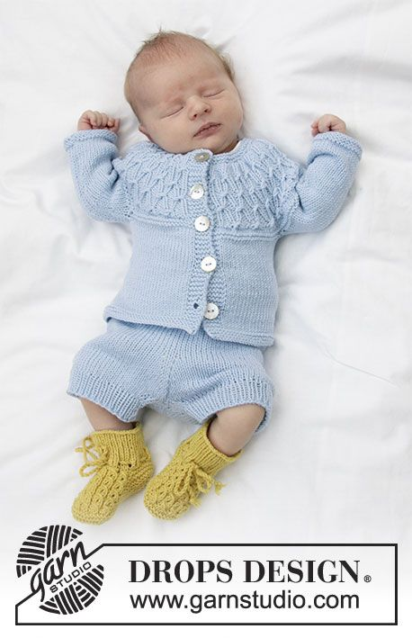 Jacket For Baby With Round Yoke And Textured Pattern Knitted Top