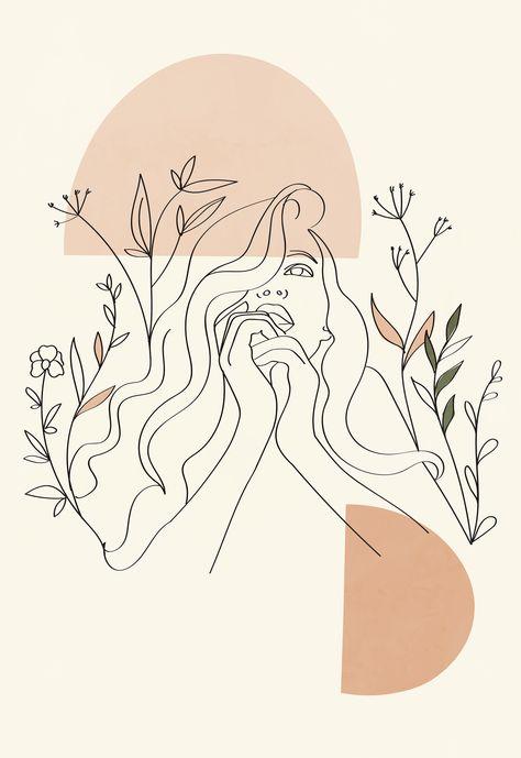 Aesthetic female line art poster